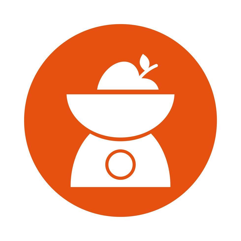 icône de style de bloc de cuisine mesure équilibre vecteur