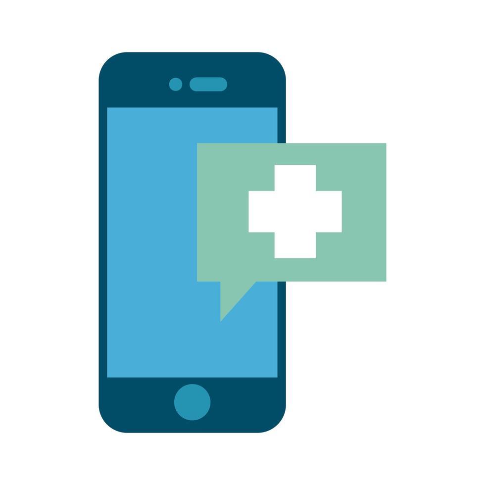 smartphone avec style plat app ehealth vecteur