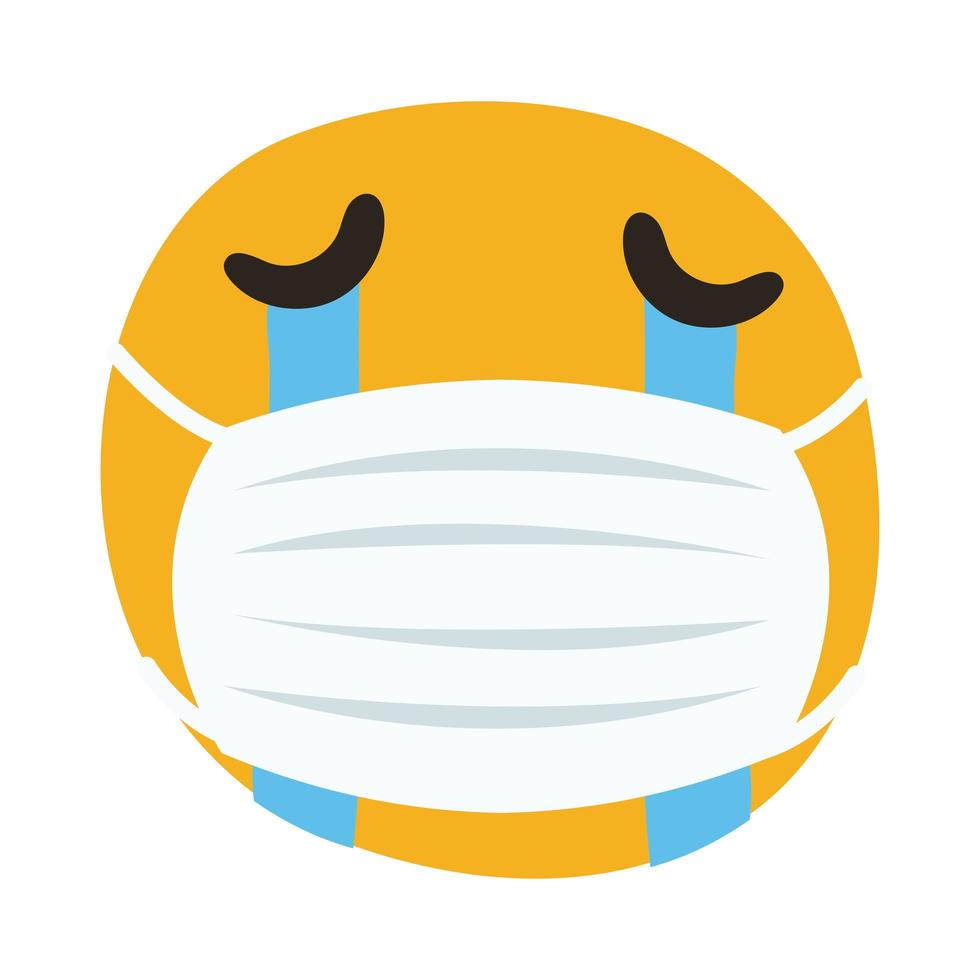 Emoji portant un masque médical qui pleure le style de dessin à la main vecteur