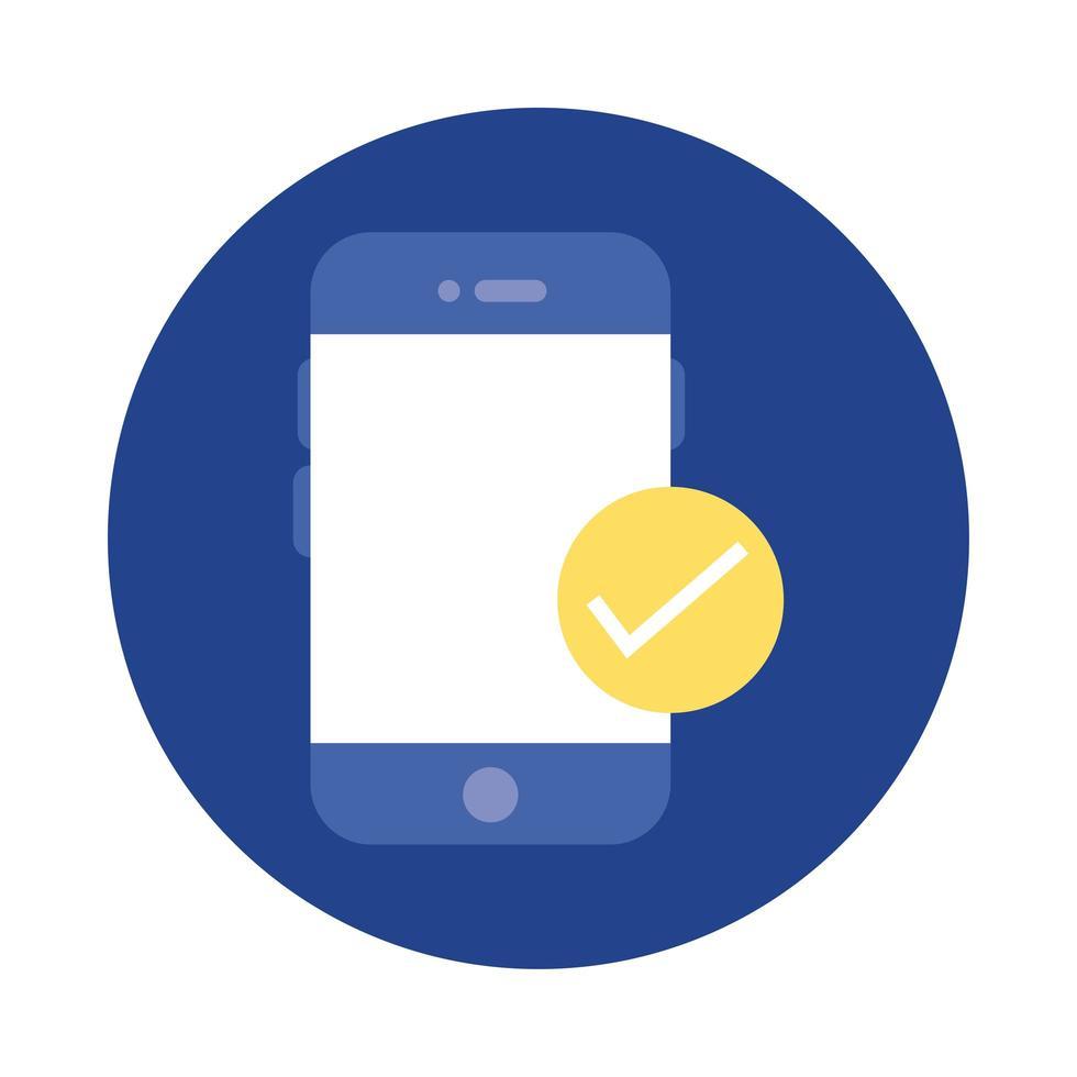 smartphone avec bloc de symbole de chèque et icône de style plat vecteur