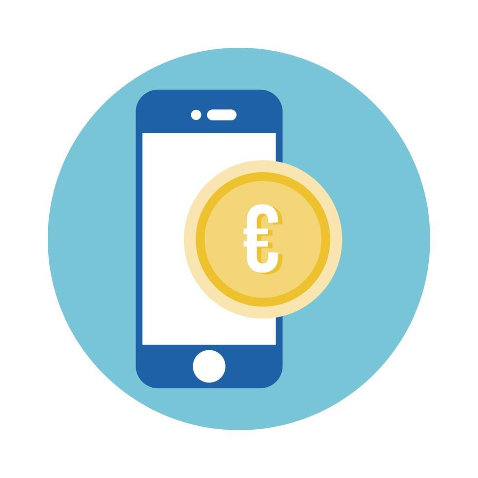 smartphone avec style de bloc de pièces en euros vecteur