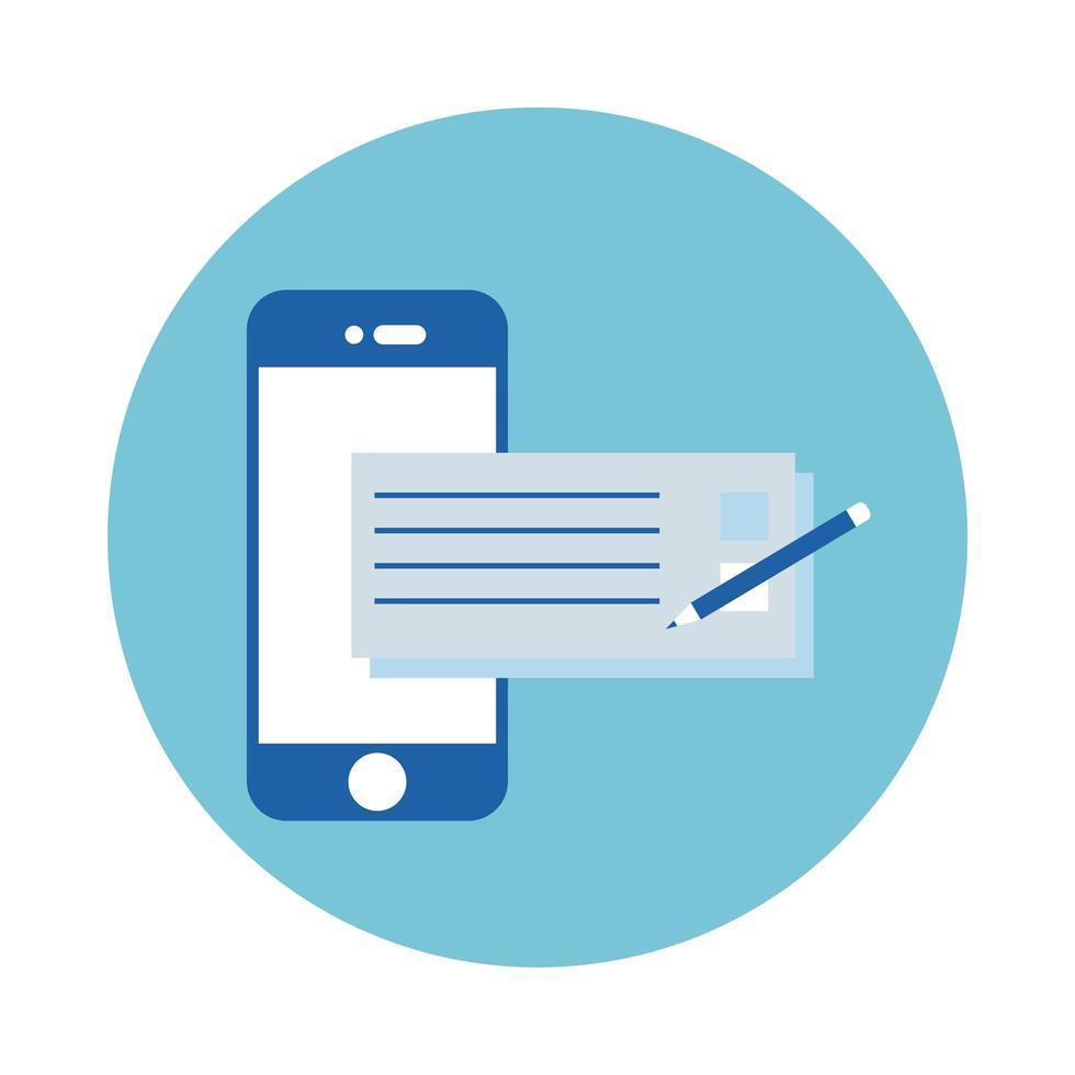 smartphone avec icône de style bloc chèque bancaire vecteur