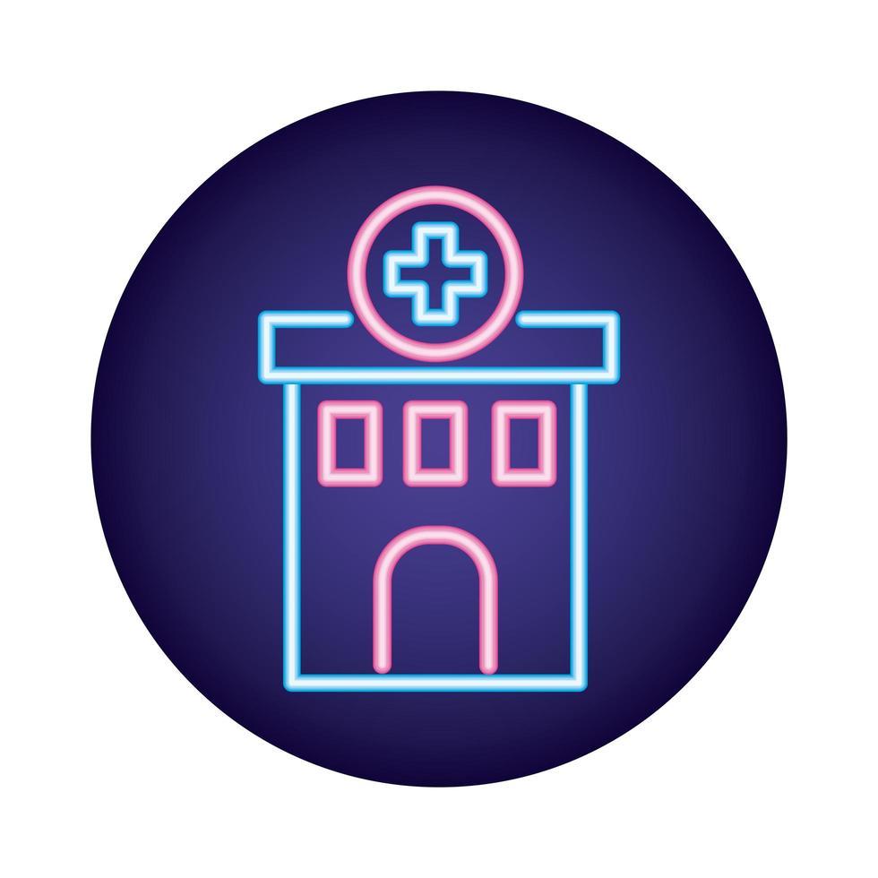 icône de style néon bâtiment hôpital vecteur