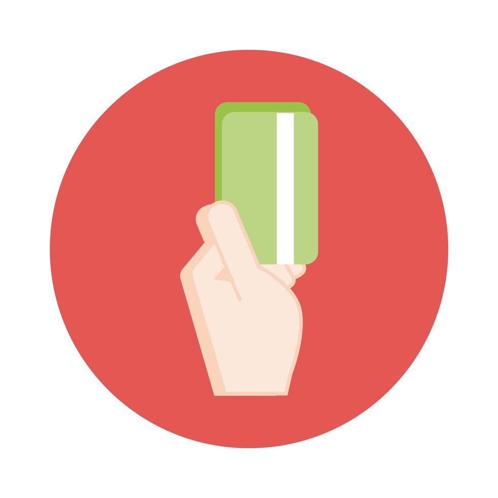main avec style de bloc de commerce électronique de carte de crédit vecteur