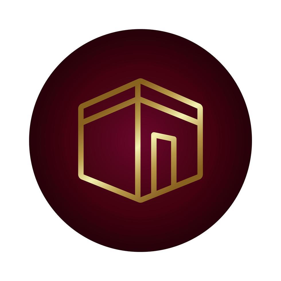 icône de style dégradé de bloc de temple ramadam kareem vecteur