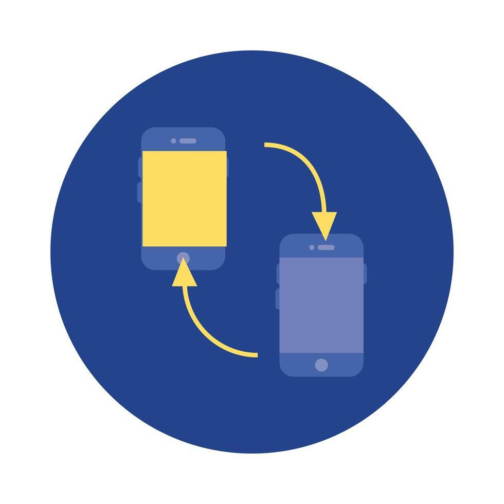 smartphones avec bloc de flèches et icône de style plat vecteur