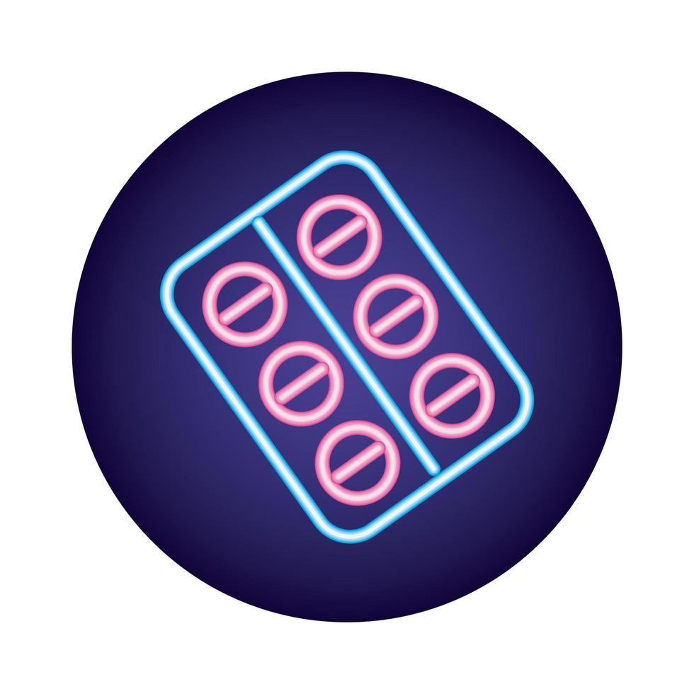 pilules sceau médicaments style néon vecteur