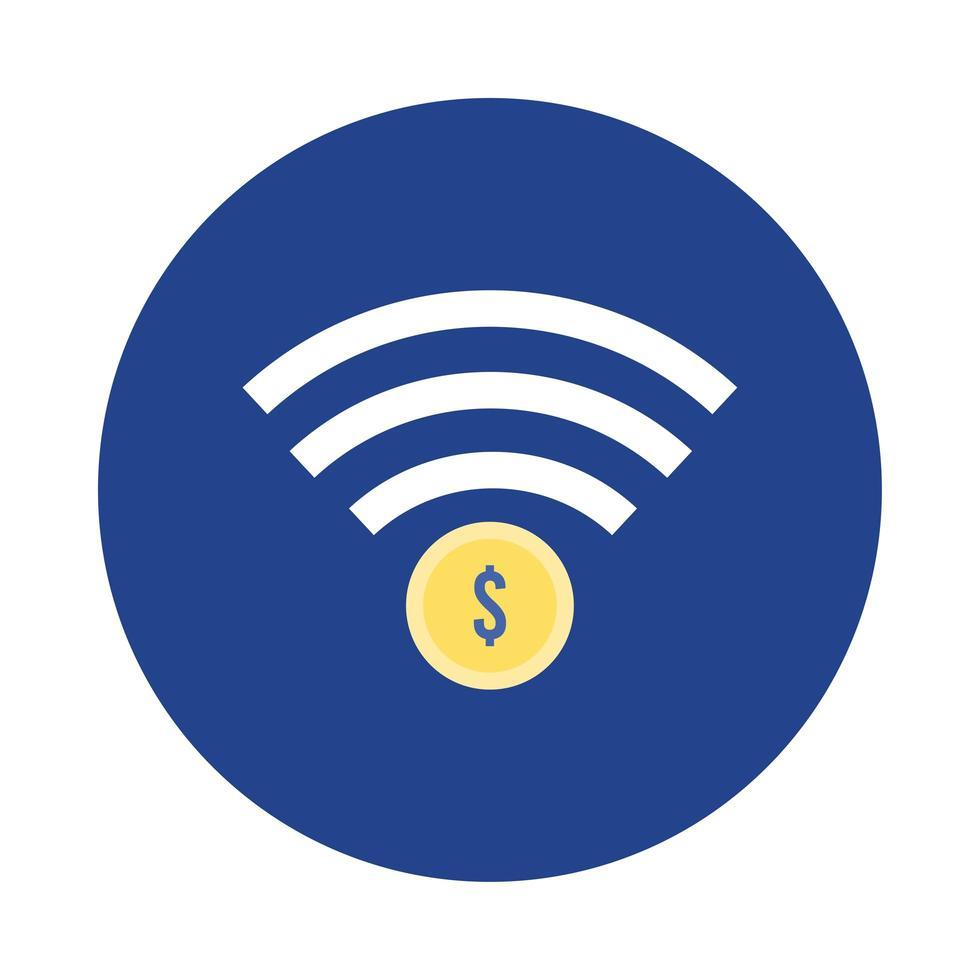 Pièce de monnaie dollar avec bloc wifi et icône de style plat vecteur