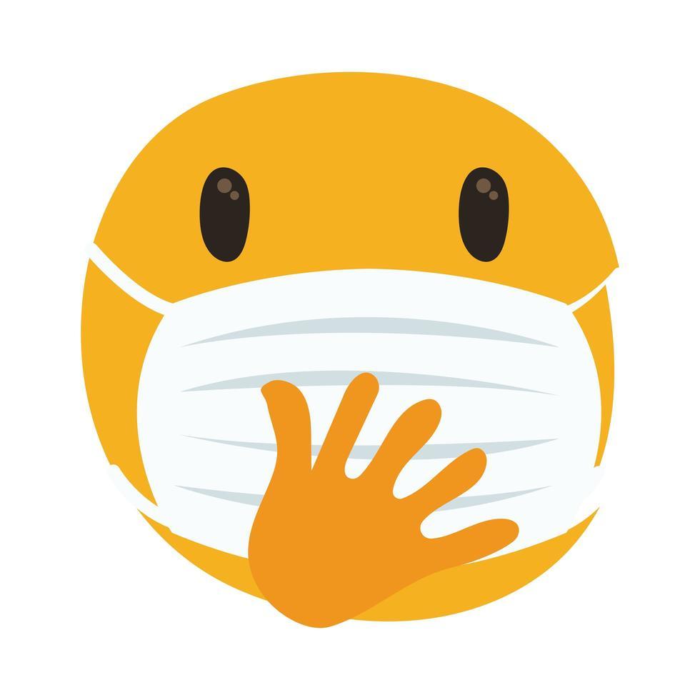 emoji réfléchi portant un masque médical vecteur