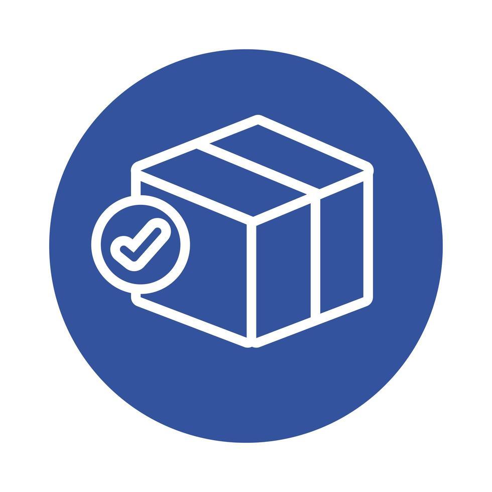 boîte avec style de bloc de service de livraison de symbole de chèque vecteur