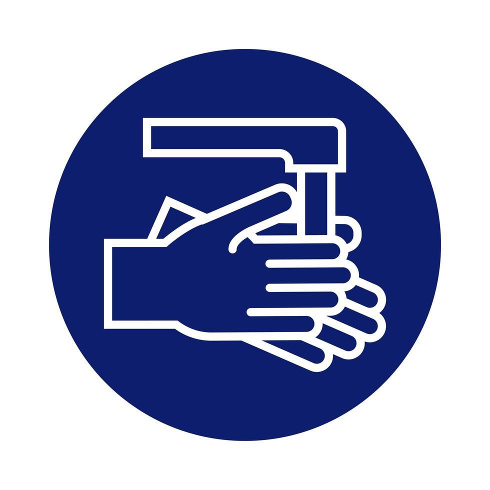 laver les mains avec l'icône de style de bloc de robinet vecteur