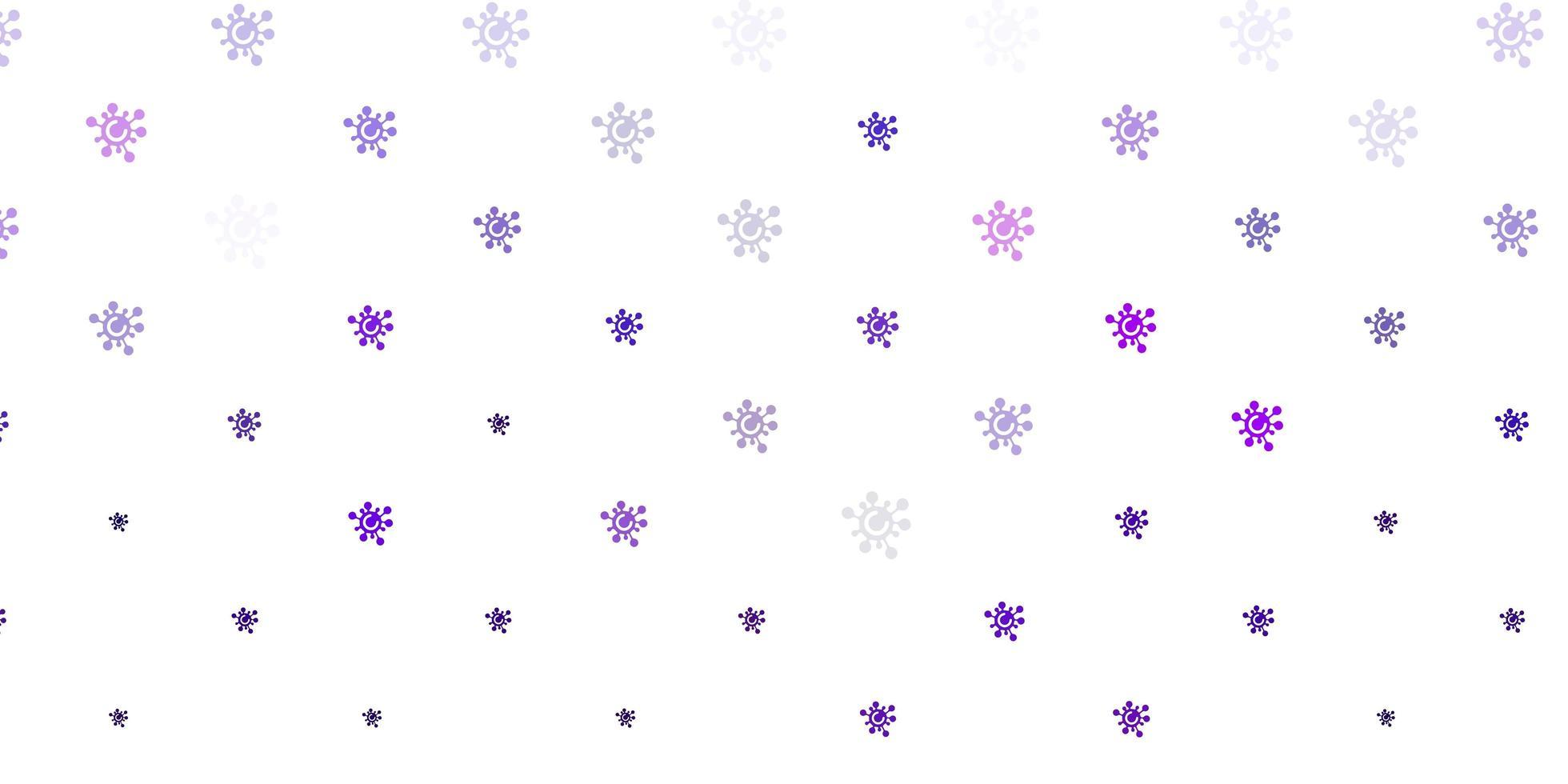 modèle vectoriel violet clair, rose avec des éléments de coronavirus