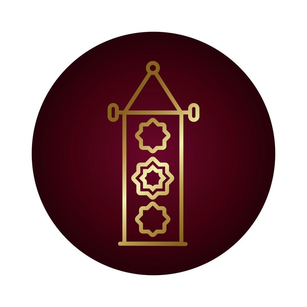 bannière décorative ramadan kareem style dégradé de bloc suspendu vecteur