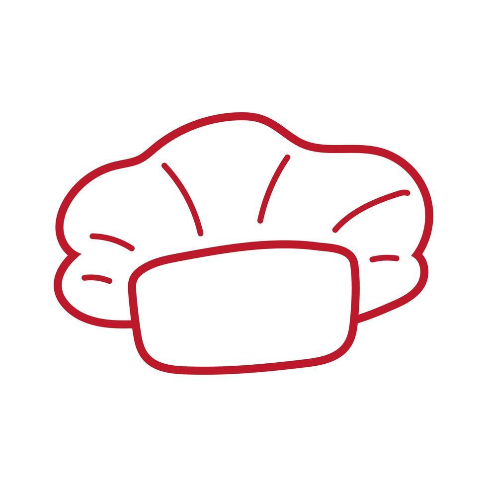 icône de style de dessin de main de chapeau de chef vecteur