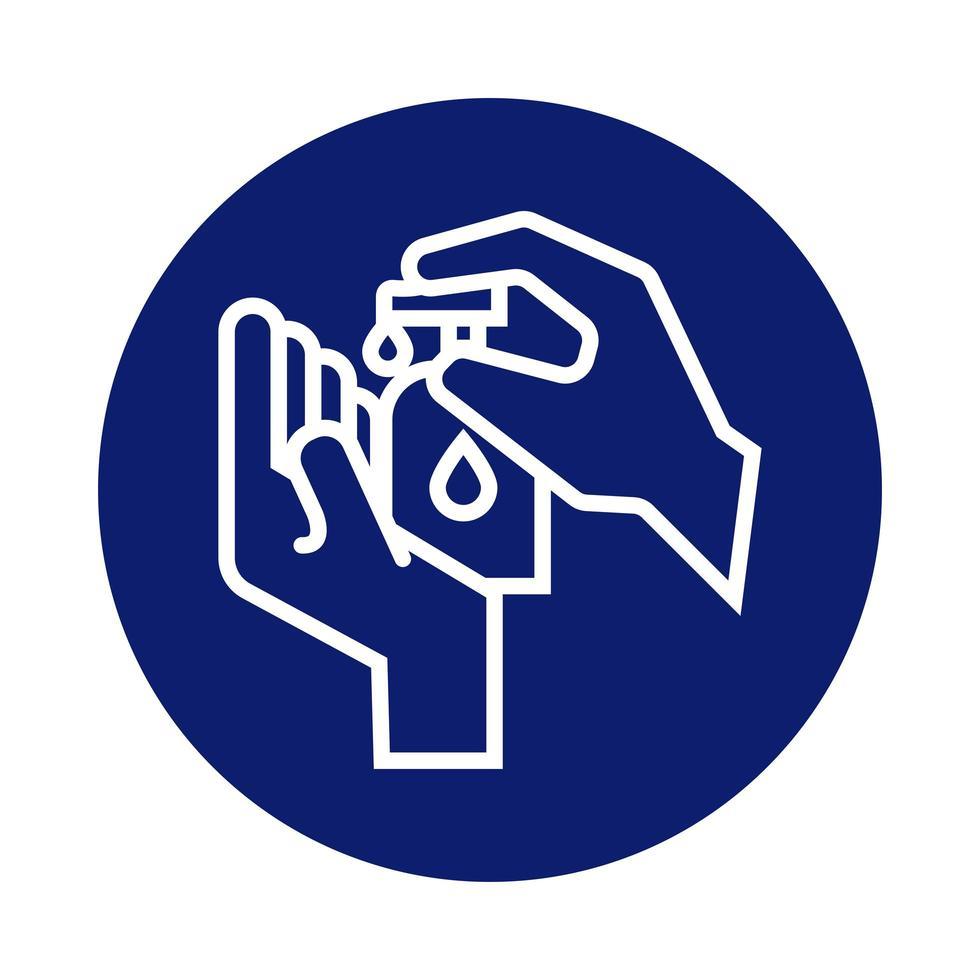 lavage des mains avec icône de style bloc de bouteille de savon antibactérien vecteur