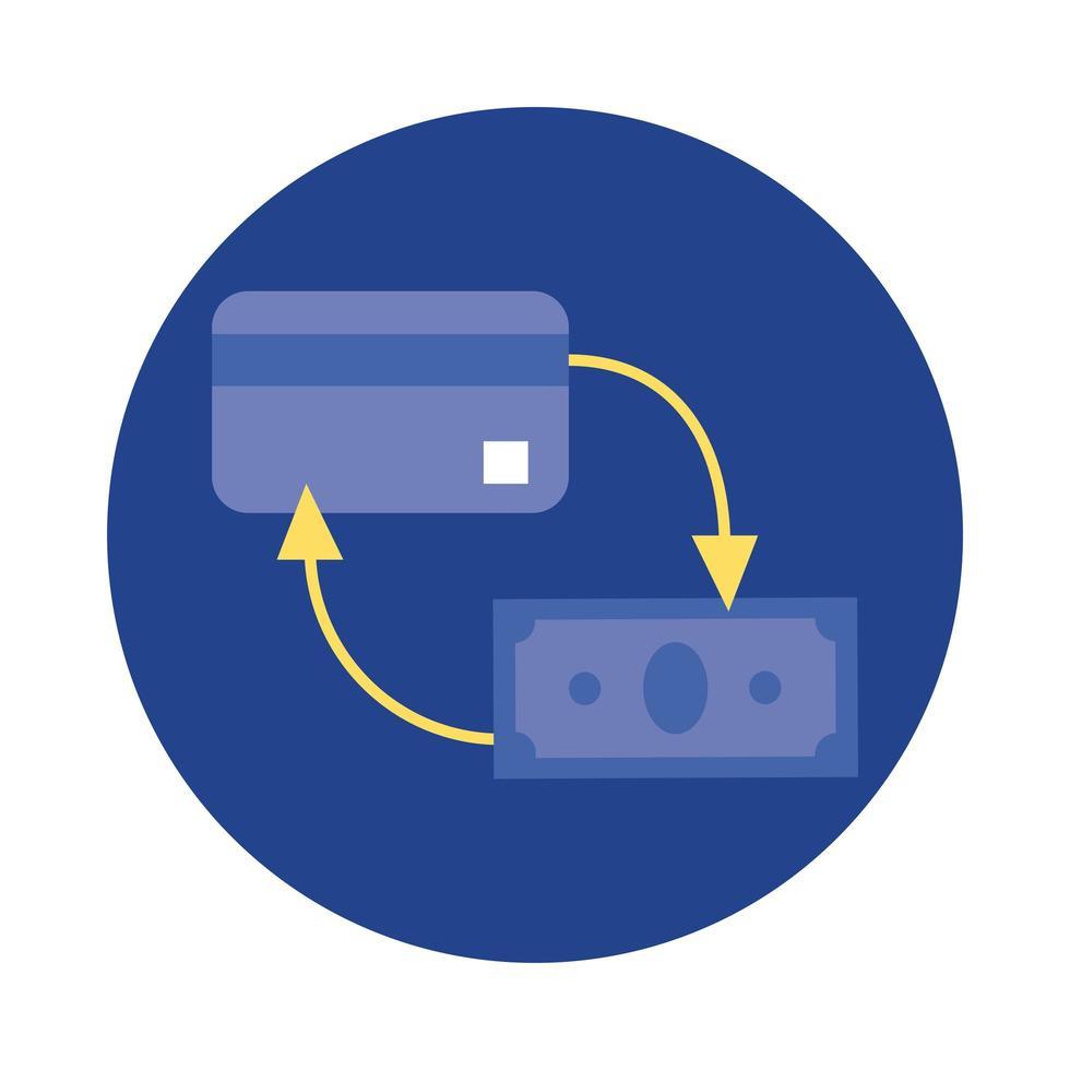 carte de crédit avec bloc de dollars et icône de style plat vecteur