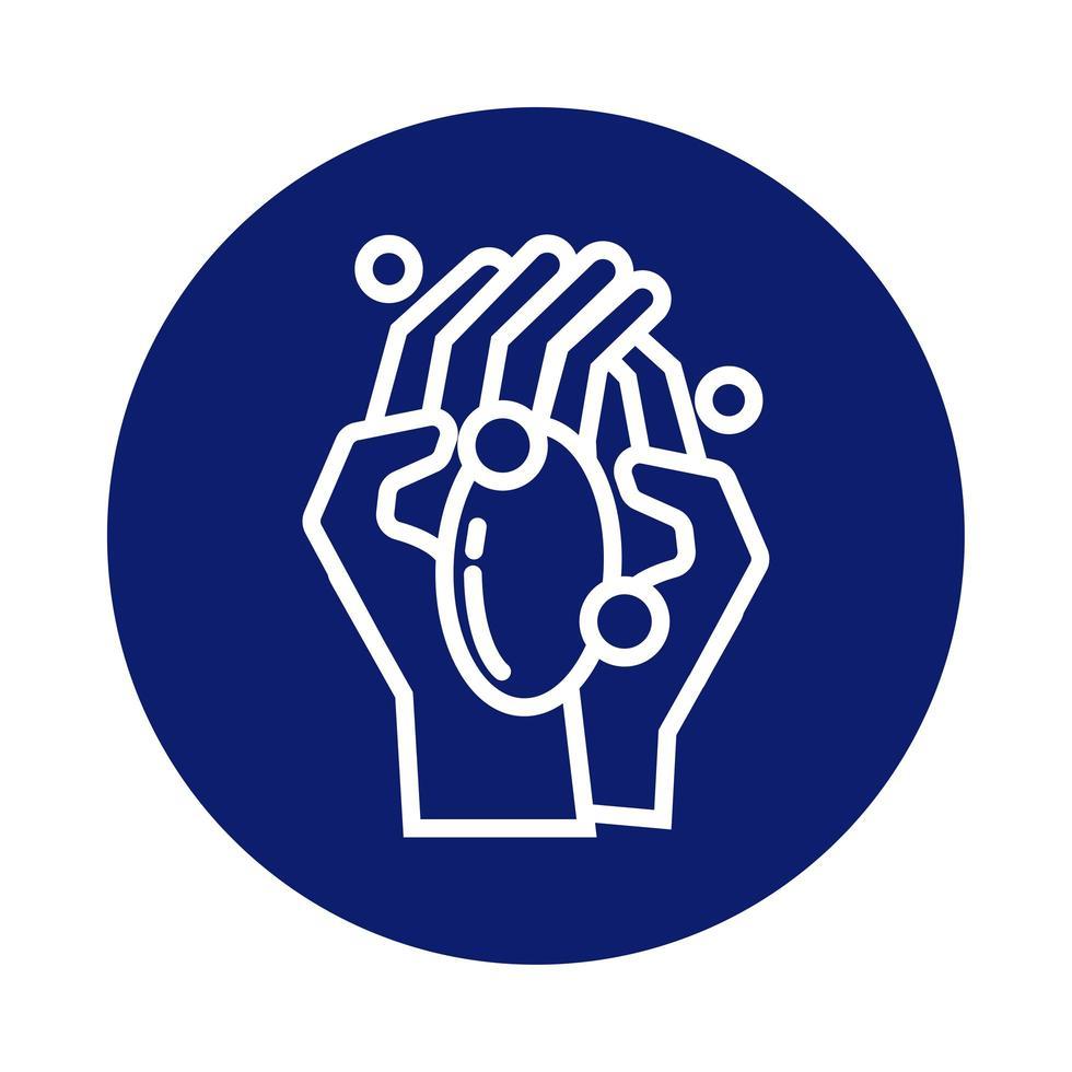 lavage des mains avec icône de style bloc de barre de savon vecteur