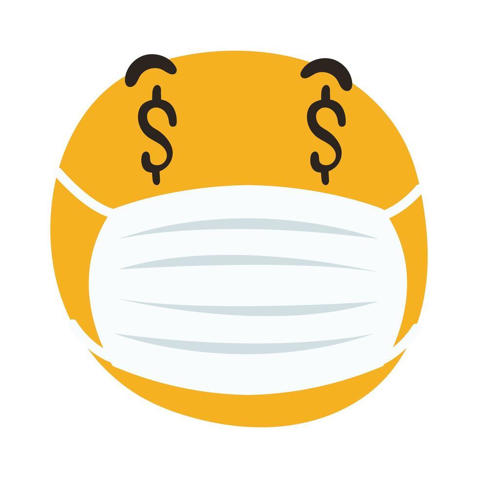 Emoji portant un masque médical avec le symbole de dollars dans les yeux style dessiner à la main vecteur