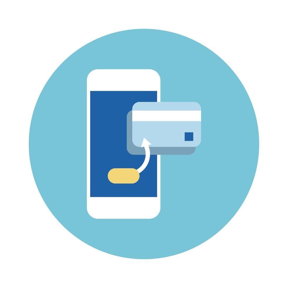 smartphone avec style de bloc de carte de crédit vecteur