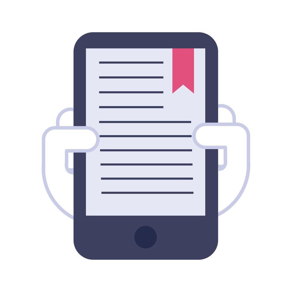 smartphone avec icône de style plat livre texte vecteur