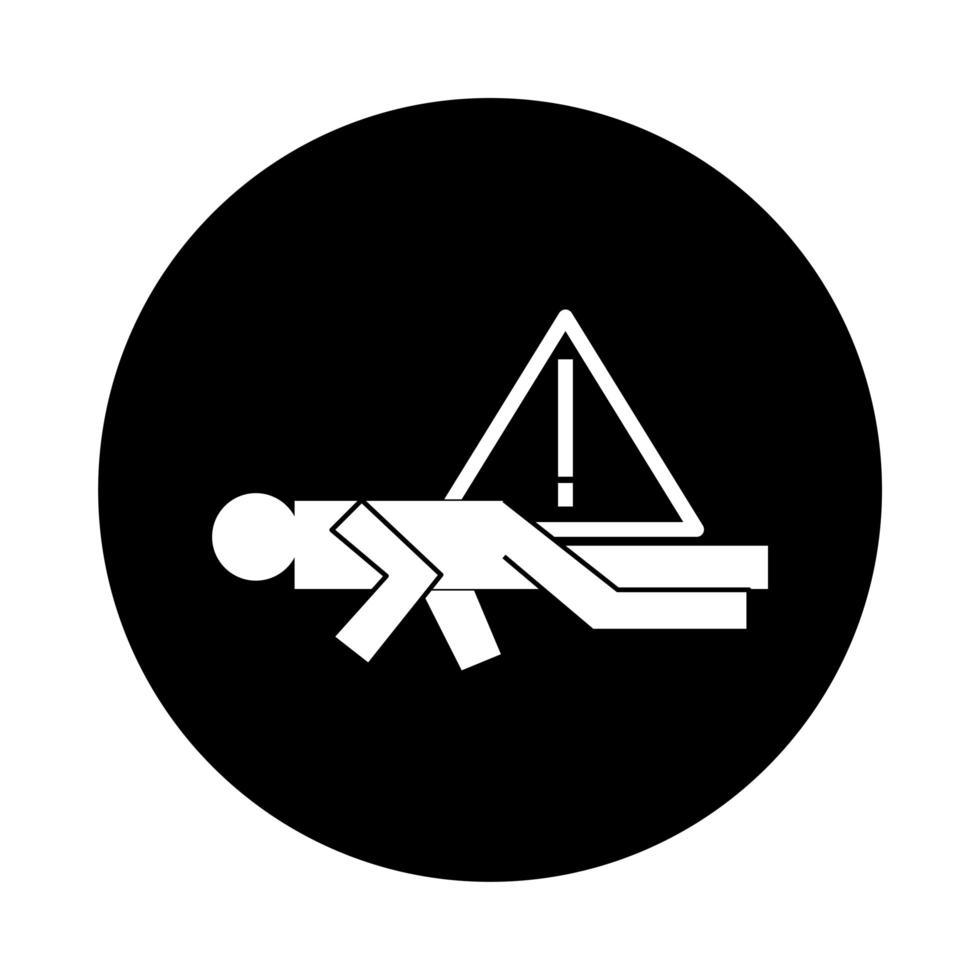 figure humaine évanouissement style de bloc de pictogramme de santé vecteur