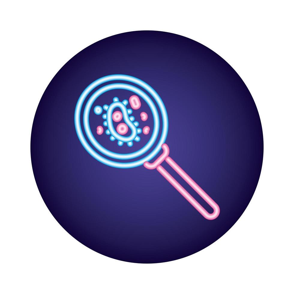 culture de bactéries avec style néon en forme de loupe vecteur