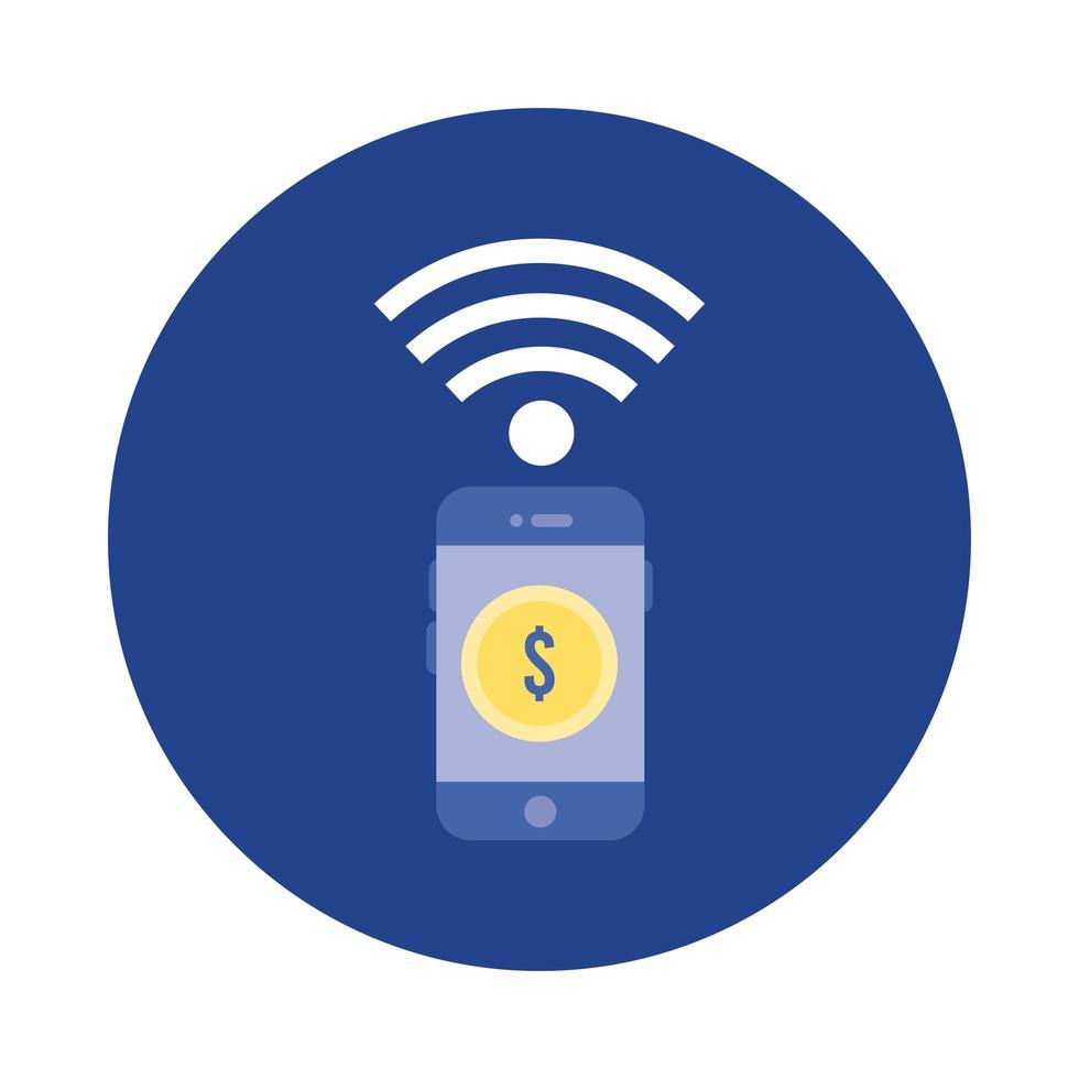 smartphone avec bloc de pièces et icône de style plat vecteur