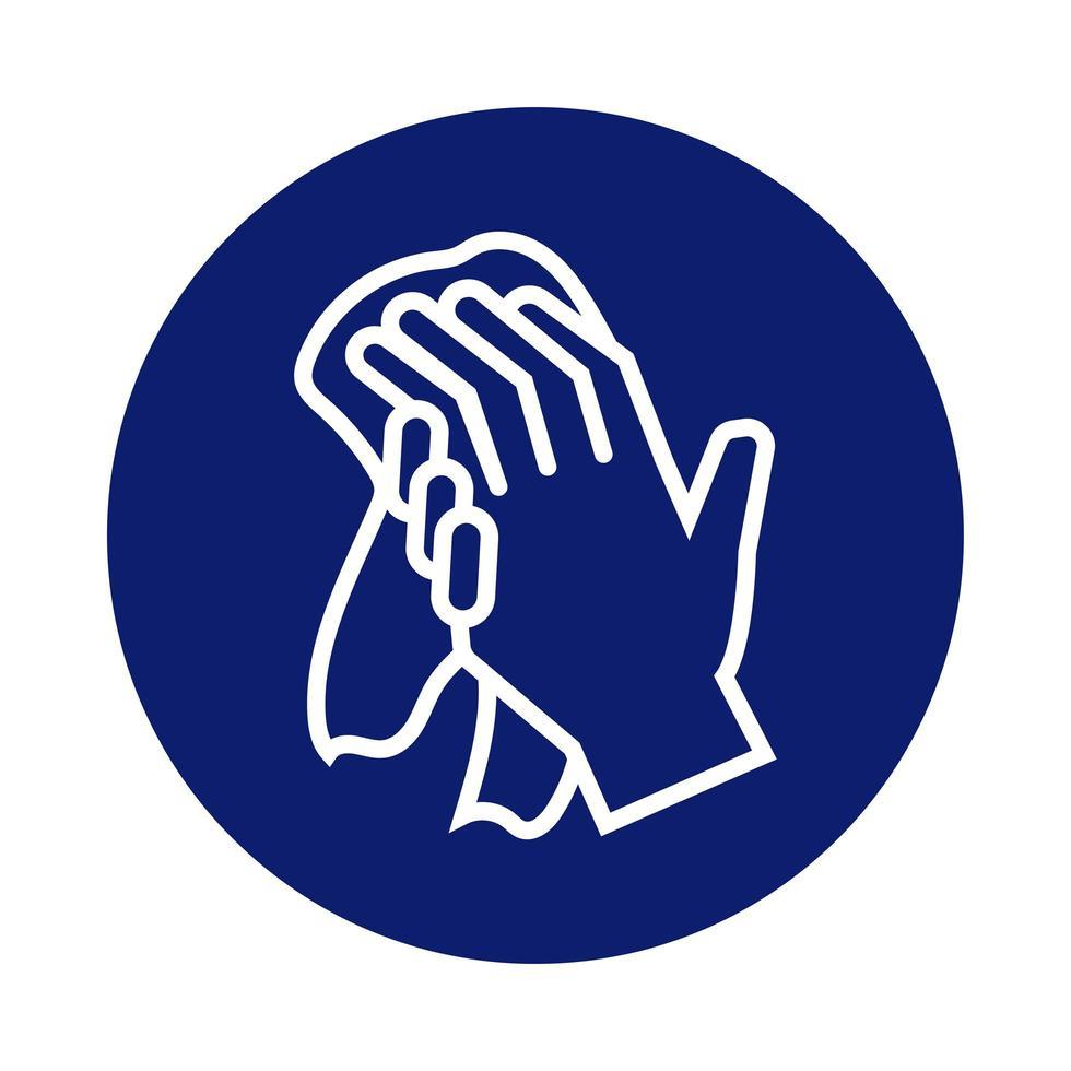 laver les mains avec l'icône de style de bloc de serviette vecteur