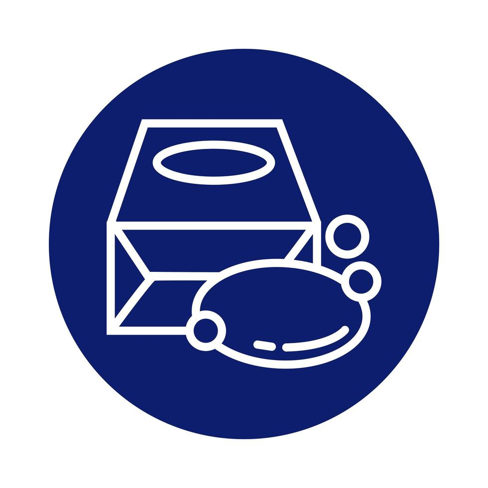 barre de savon en icône de style de bloc de boîte vecteur