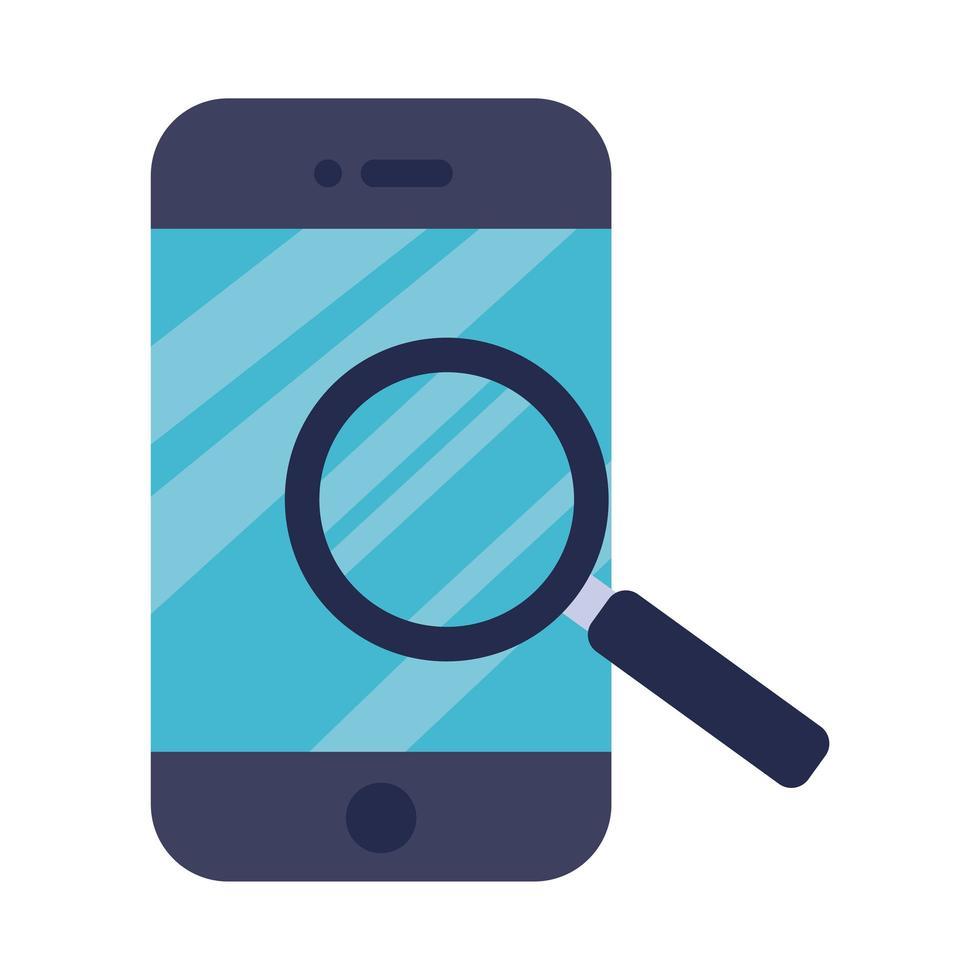 smartphone avec icône de style plat loupe vecteur