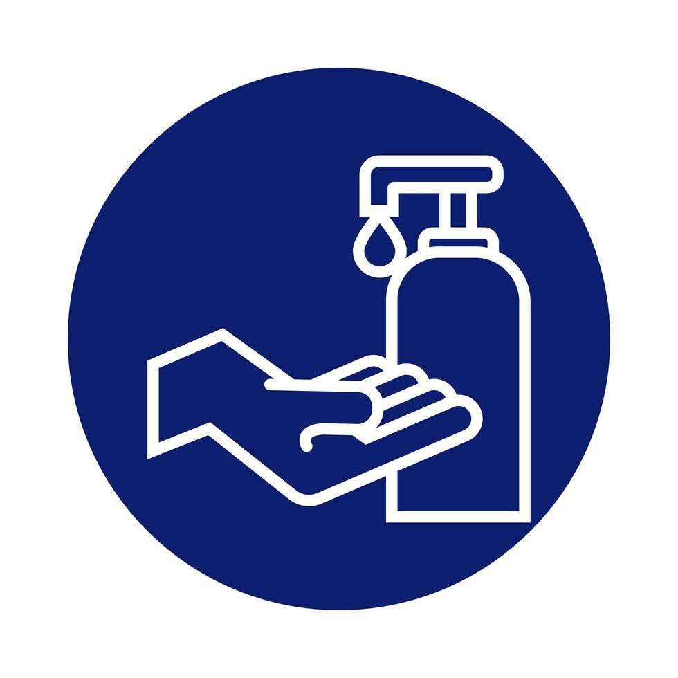 lavage des mains en utilisant un style de bloc de bouteille de savon antibactérien vecteur