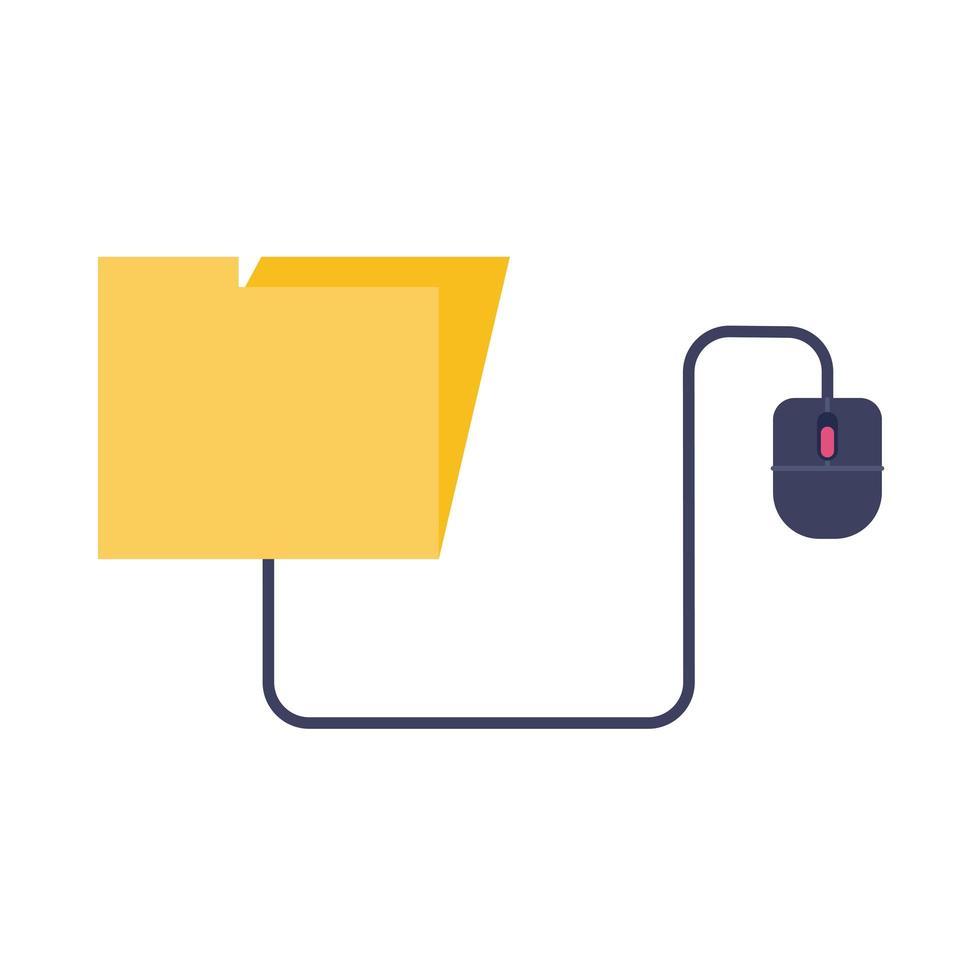 dossier avec style plat en ligne éducation à la souris vecteur