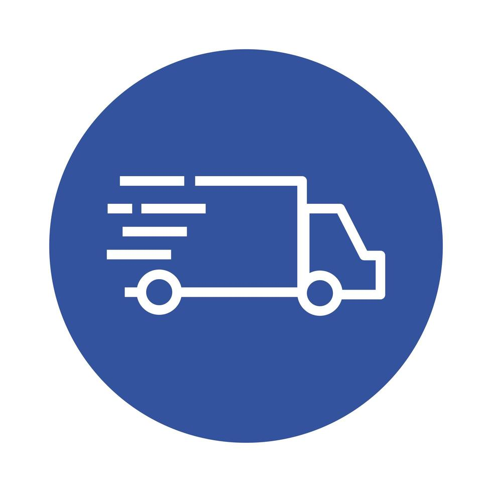 style de bloc de service de livraison de camion vecteur