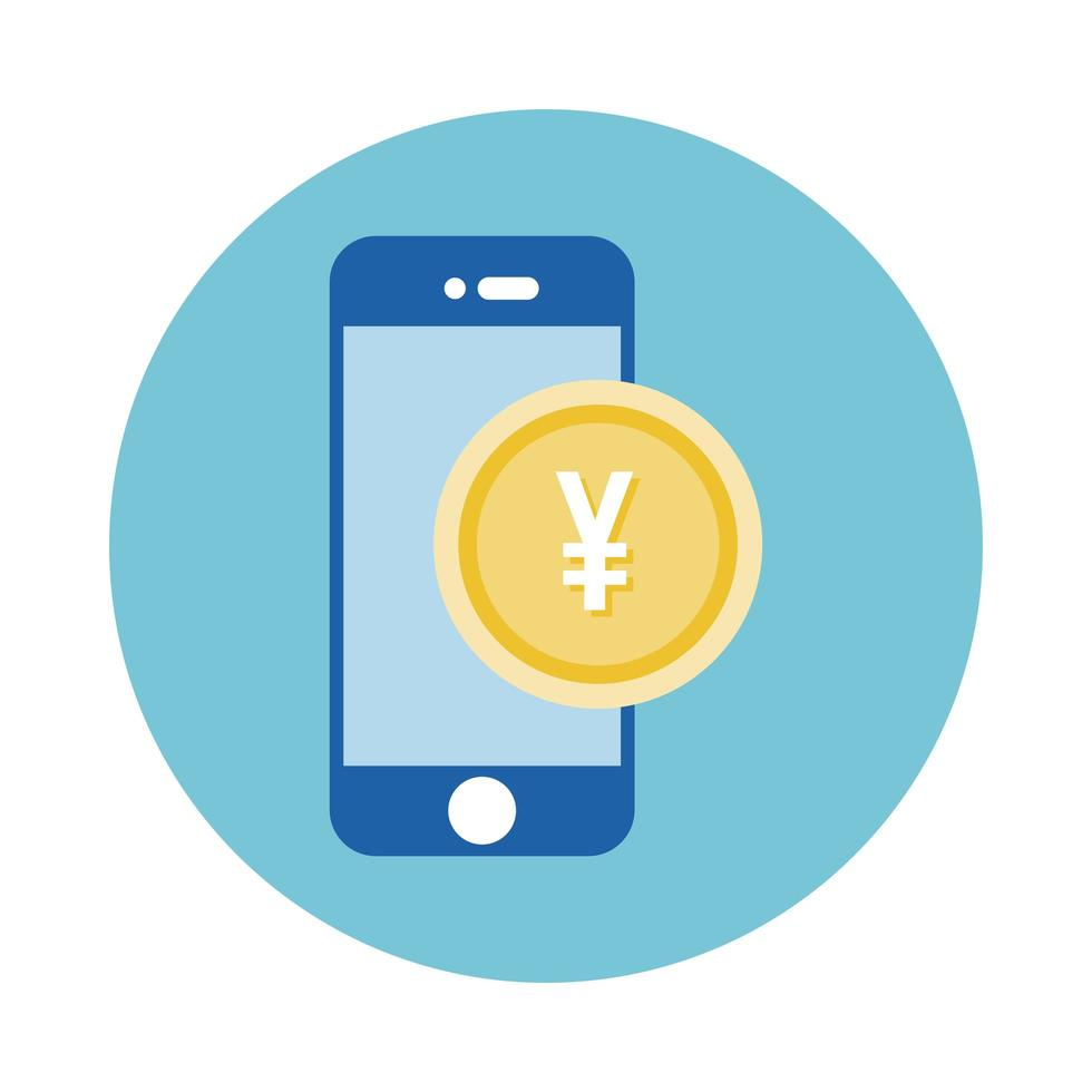 smartphone avec style bloc de pièces de monnaie yen vecteur