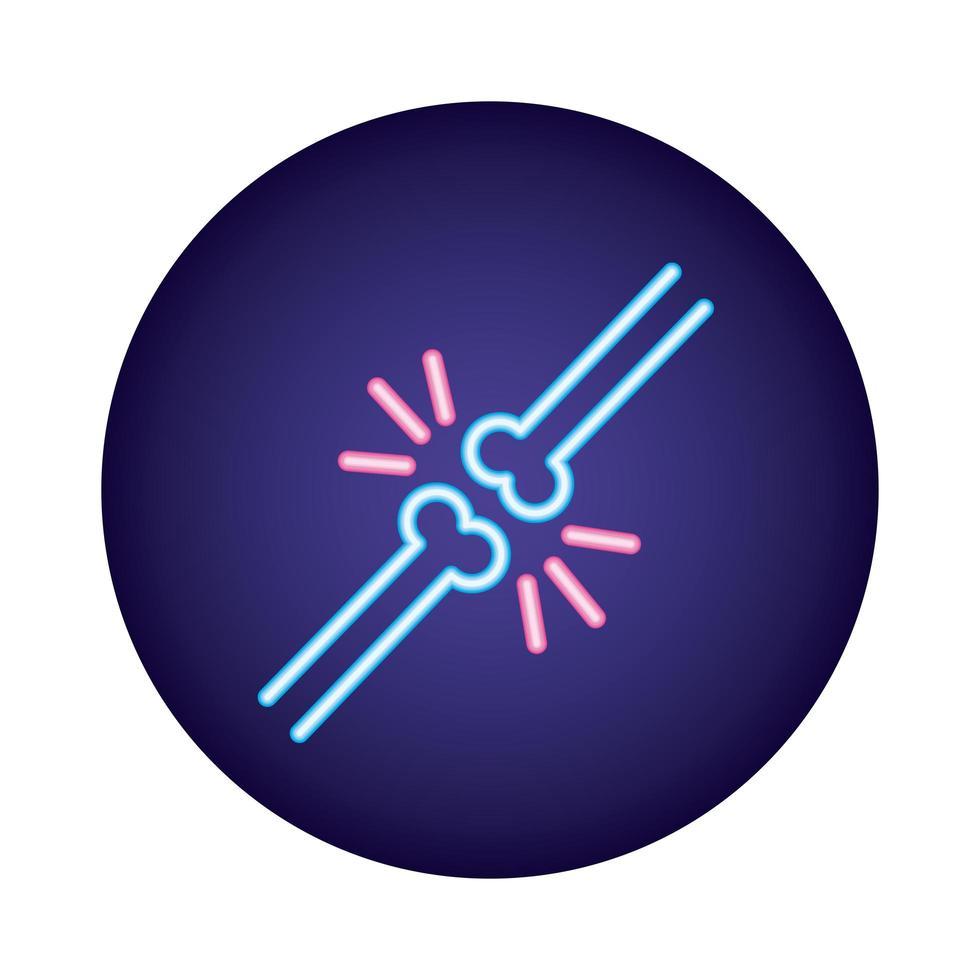 icône de style néon cassé os vecteur