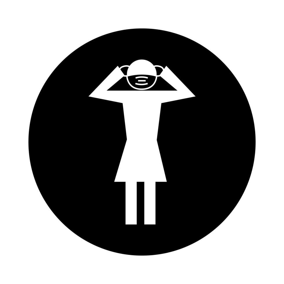 figure féminine à l'aide d'un masque facial avec style de bloc de pictogramme de santé de maux de tête vecteur