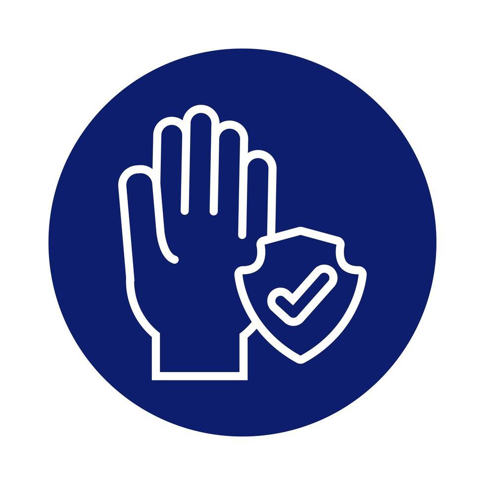lavage des mains avec l'icône de style de bloc de bouclier vecteur