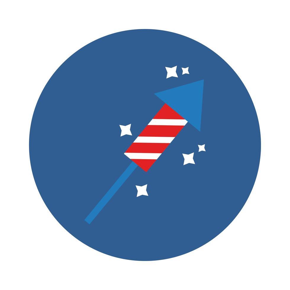 icône de style de bloc de feux d'artifice de fusée vecteur