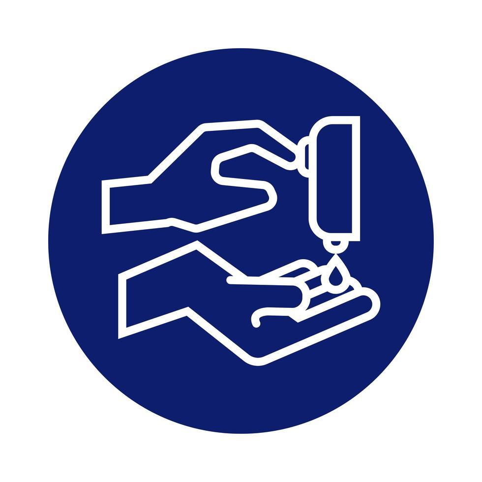 lavage des mains avec icône de style bloc distributeur de savon vecteur