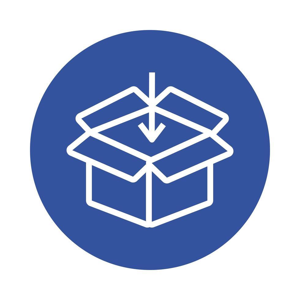 style de bloc de service de livraison boîte et flèche vecteur