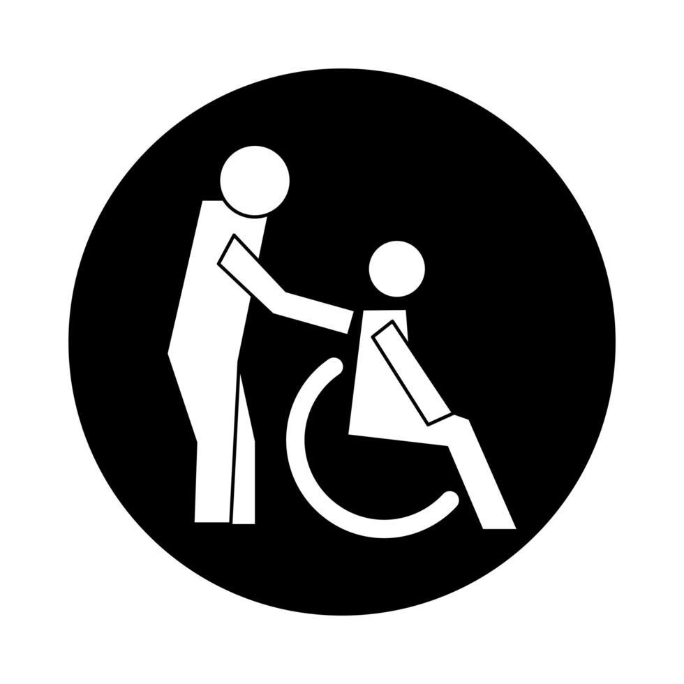figures humaines dans le style de bloc de pictogramme de santé en fauteuil roulant vecteur