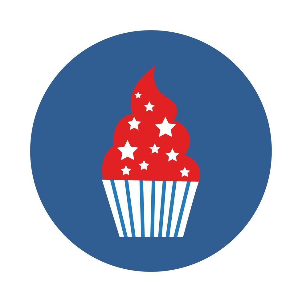 icône de style de bloc de petit gâteau sucré vecteur