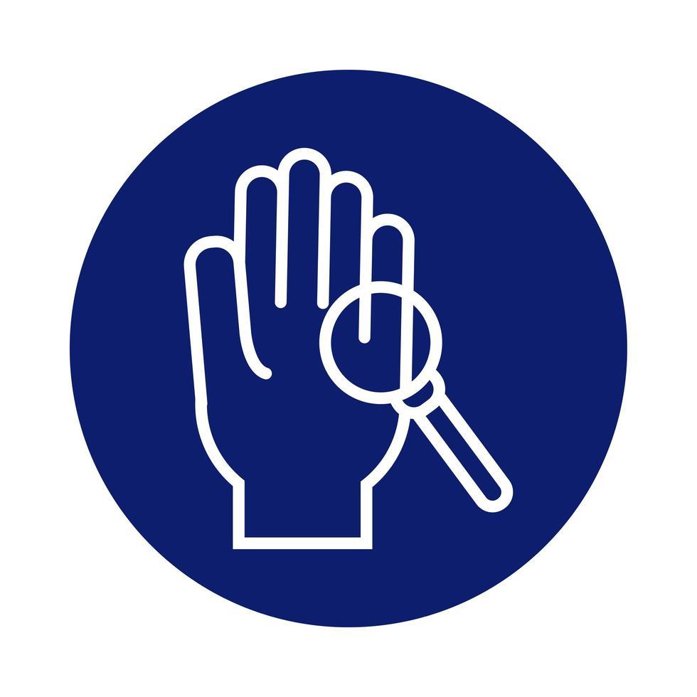 lavage des mains avec style de bloc de loupe vecteur