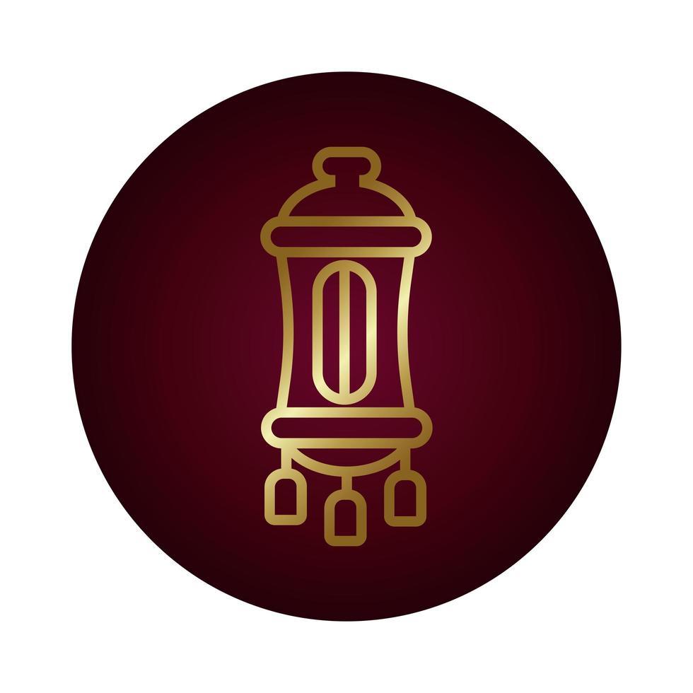Bloc de lampe ramadan kareem style dégradé vector illustration design