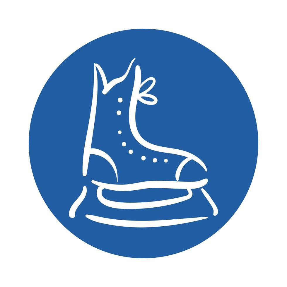 icône de style de bloc de patin de hockey vecteur