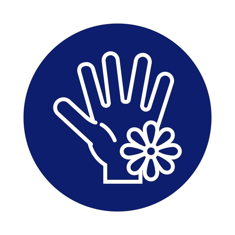 lavage des mains avec icône de style bloc de fleurs vecteur
