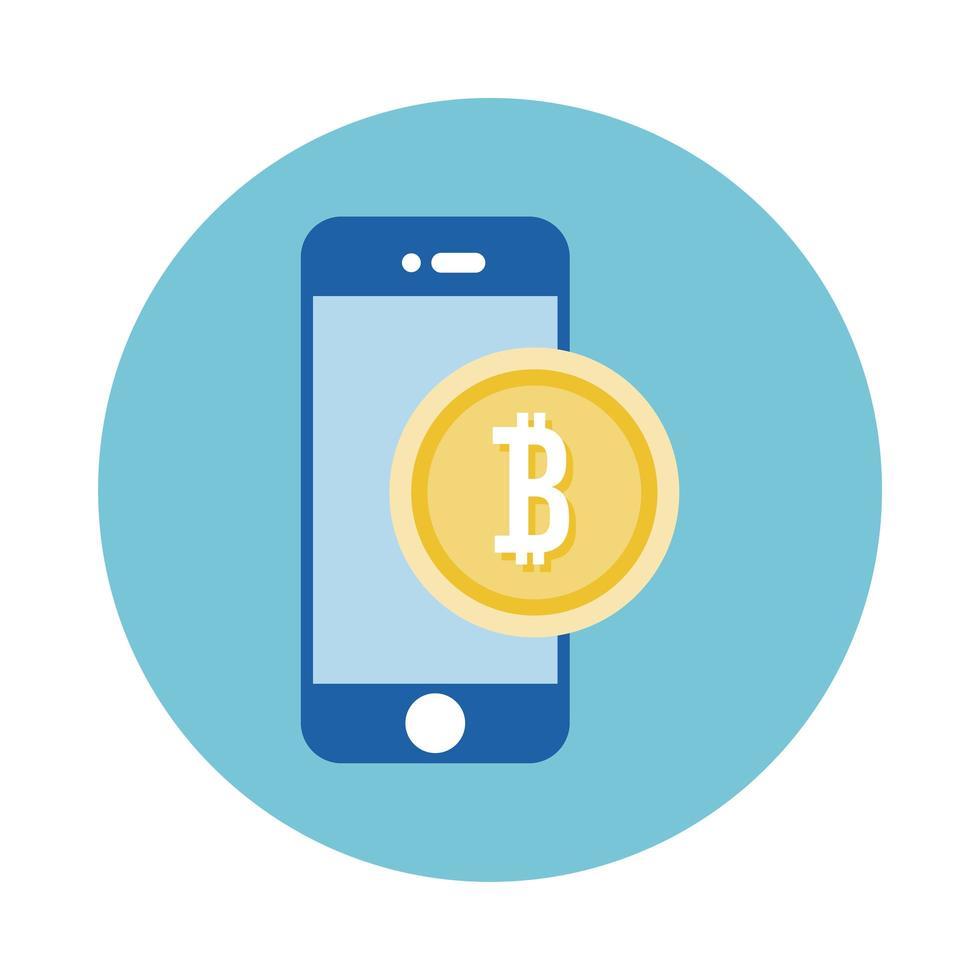 smartphone avec icône de style de bloc bitcoin vecteur