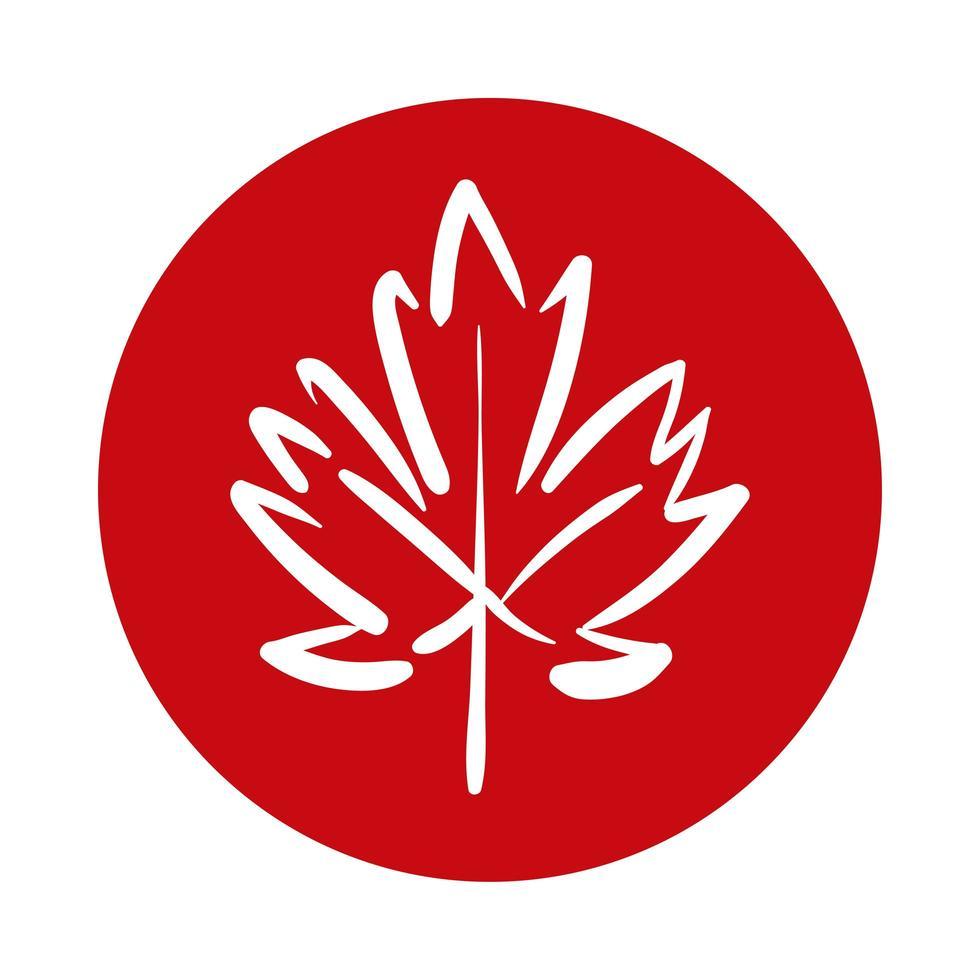 feuille d'érable style bloc canadien vecteur