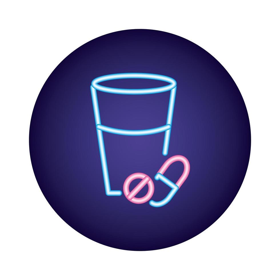 pilule et capsule avec coupe en verre style néon vecteur