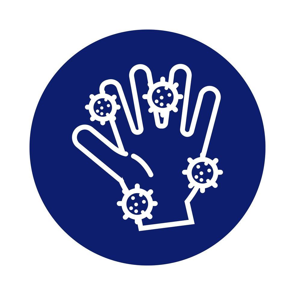 lavage des mains avec l'icône de style de bloc de particules covid19 vecteur